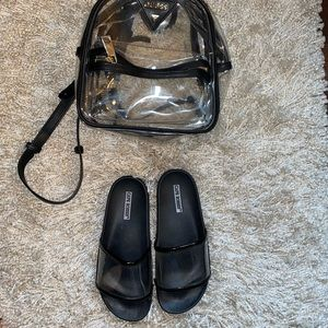 Black and clear PVC slides sandals size 7